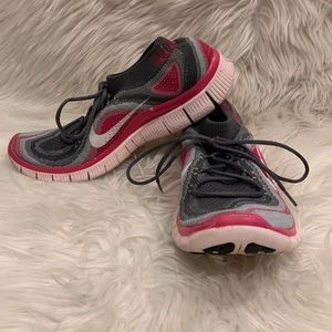Nike Free 5.0 Flyknit Running Shoes Gray Pink 8.5